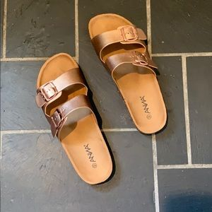 Shoes - Rose Gold sandals size 10, worn once
